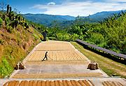 San Marco de Tarrazu, Costa Rica, Coffee Farmer Drying Coffee Beans