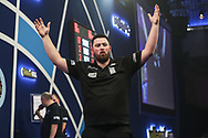 Luke Humphries wins his fourth round match against Rob Cross and celebrates during the World Darts Championships 2018 at Alexandra Palace, London, United Kingdom on 28 December 2018.
