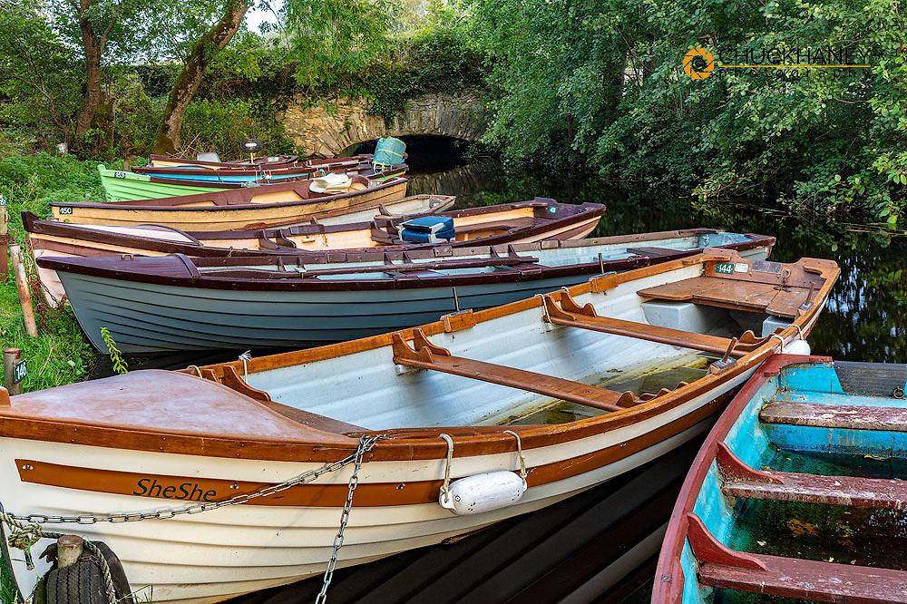 Old wooden boats in Killarney National Park, Ireland
