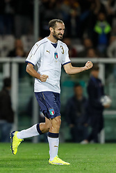 October 6, 2017 - Turin, Italy - Giorgio Chiellini of Italy national team celebrates his goal during the 2018 FIFA World Cup Russia qualifier Group G football match between Italy and FYR Macedonia at Stadio Olimpico on October 6, 2017 in Turin, Italy. (Credit Image: © Mike Kireev/NurPhoto via ZUMA Press)