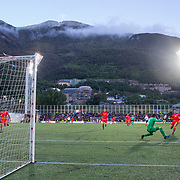 ANDORRA LA VELLA, ANDORRA. June 1.  Kylian Mbappe #10 of France scores his sides first goal beating goalkeeper  Josep Gomes #1 of Andorra during the Andorra V France 2020 European Championship Qualifying, Group H match at the Estadi Nacional d'Andorra on June 11th 2019 in Andorra (Photo by Tim Clayton/Corbis via Getty Images)