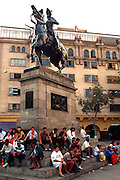 PERU, LIMA the statue of Francisco Pizarro, the Conqueror of the Incas, on a corner of the Plaza de Armas