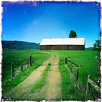 18 March 2014: Red Barn in Sonoma County,  California.  iPhone Stock Photo