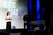 Rebecca Rusch and Nicholas Schrunk speak with attendees during the post film Q&A session of Blood Road at the Bluebird Theater in Denver, CO, USA on 27 June, 2017.