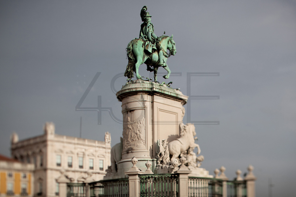 Statue of king José I facing the Tagus river, at Praça do Comércio in the Baixa district, in central Lisbon.