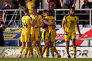 Oxford United celebrate Josh Ruffels of Oxford United goal, Oxford United 2-1 Wycombe Wanderers during the EFL Sky Bet League 1 match between Oxford United and Wycombe Wanderers at the Kassam Stadium, Oxford, England on 30 March 2019.