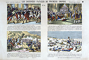 Fateful Days of the First (French) Empire. Top: Napoleon's coup, 9 November 1799. Coronation of Napoleon 2 December 1804. Bottom:  Napoleon invading Spain 1807. Retreat from Moscow, 1812.  French popular coloured print.