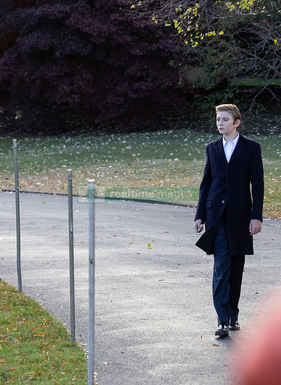 November 20, 2018 - Washington, DC, United States - Barron Trump walks across the South Lawn prior to his family's departure from the White House in Washington, DC., on Tuesday, November 20, 2018. President Trump and his family are  traveling to his Mar-a-Lago resort in Palm Beach, Florida, for the Thanksgiving holiday. (Credit Image: © Cheriss May/NurPhoto via ZUMA Press)