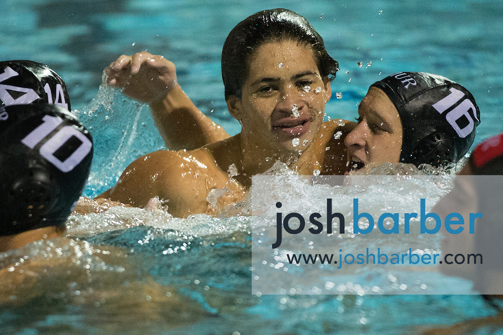 Murrieta Valley's Joshua Benitez (8), Ian Fleenor (16) during the CIF-SS Division 3 Boys Water Polo Finals at Woollett Aquatic Center on Saturday, November 21, 2015 in Irvine, California. (Photo/Josh Barber)