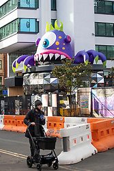 © Licensed to London News Pictures. 25/10/2020. Manchester, UK. Giant inflatable monsters have appeared in Manchester ready for the event 'Halloween in the City' which will see the monsters displayed across the city between the 26th October and 1st November. Photo credit: Kerry Elsworth/LNP