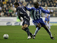 Photo: Dave Howarth.<br /> Wigan Athletic v Bolton Wanderers. Carling Cup.<br /> 20/12/2005.  Bolton's Gary Speed and Wigan's Damien Francis