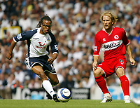 Photo: Chris Ratcliffe, Digitalsport<br /> Tottenham Hotspur v Middlesbrough. The Barclays Premiership. 20/08/2005.<br /> Edgar Davids of Spurs and Gaizka Mendieta of Boro tussle it out.<br /> Norway only