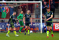 Tony Craig of Bristol Rovers and teammates cut dejected figures - Mandatory by-line: Robbie Stephenson/JMP - 02/04/2018 - FOOTBALL - Highbury Stadium - Fleetwood, England - Fleetwood Town v Bristol Rovers - Sky Bet League One
