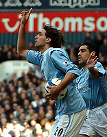 Photo: Ed Godden.<br />Tottenham Hotspur v Manchester City. The Barclays Premiership. 08/04/2006. Georgios Samaras (L) celebrates his goal for Man City.