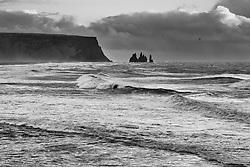 Reynisdrangar and rough sea, south coast Iceland - Reynisdrangar og brim