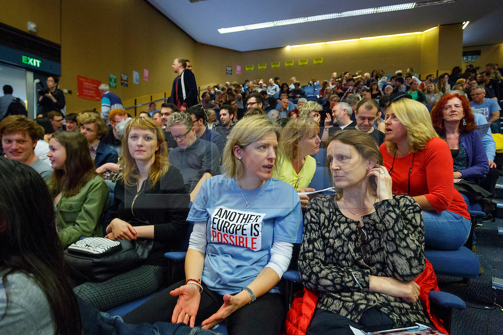 © Licensed to London News Pictures. 28/05/2016. London, UK. Another Europe is Possible rally held at UCL Institute of Education in London, campaigning for a remain vote at the upcoming EU referendum. Speakers at the event include Shadow Chancellor John McDonnell, former Greek Finance Minister Yanis Varoufakis and Green MP Caroline Lucas. Photo credit: Tolga Akmen/LNP