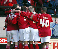 Photo: Dave Linney.<br />Walsall v Scunthorpe United. Coca Cola League 1. 11/02/2006Walsall's.Andrew Barrowman(Hidden) makes it 2-2