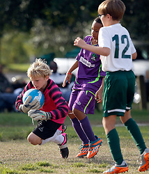 15 November 2015. New Orleans, Louisiana.<br /> New Orleans Jesters Youth Academy play Slidell.<br /> U10 Jesters Purple vs U10 Bayou Thunder Green. Jesters emerge victorious.<br /> Photo©; Charlie Varley/varleypix.com