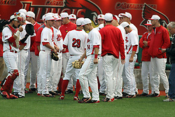 25 May 2013:  Redbirds take the field during an NCAA division 1 Missouri Valley Conference (MVC) Baseball Tournament game between the Wichita State Shockers and the Illinois State Redbirds on Duffy Bass Field, Normal IL