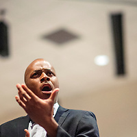 """120114  Adron Gardner/Independent<br /> <br /> Ty Cox performs an opera solo in """"A hand of Bridge""""  during """"Holiday in New Mexico"""" festivities at the University of New Mexico in Gallup Monday."""