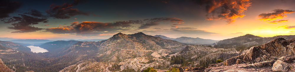 """""""Donner Summit Sunset 1"""" - Stitched panoramic photograph of Truckee, Donner Lake, and Donner Summit. Shot on Labor Day 2017 at sunset."""