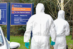 © Licensed to London News Pictures. 19th December 2014. Essex, UK. Police forensics at the scene of  the murder of an 18 year old male who was fatally stabbed yesterday at the Chelmsford Museum, Oaklands Park, Moulsham Street, Chelmsford. Two males aged 17 and 19 have been arrested in relation to this matter and remain in custody. Photo credit : Simon Ford/LNP