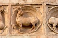 Detail of Baptistry carving - Piazza Del Duomo - Parma Italy.