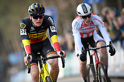 February 10, 2018 - Lille, BELGIUM - Belgian Thijs Aerts crosses the finish line at the U23 race of the Krawatencross cyclocross in Lille, the eighth and last stage in the DVV Verzekeringen Trofee Cyclocross competition, Saturday 10 February 2018. BELGA PHOTO DAVID STOCKMAN (Credit Image: © David Stockman/Belga via ZUMA Press)