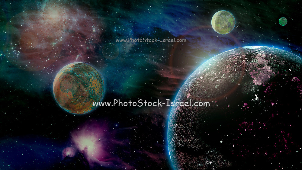 Computer generated fantasy image of a planet with three moons with gaseous nebula in the background
