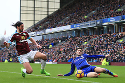 12th February 2017 - Premier League - Burnley v Chelsea - George Boyd of Burnley tackles Marcos Alonso of Chelsea - Photo: Simon Stacpoole / Offside.