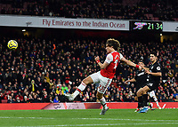 Football - 2019 / 2020 Premier League - Arsenal vs. Brighton & Hove Albion<br /> <br /> Arsenal's David Luiz scores his side's second goal which was then overturned by VAR, at The Emirates.<br /> <br /> COLORSPORT/ASHLEY WESTERN