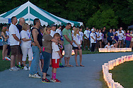 Pine Bush, New York - People from the Pine Bush community participate in luminaria ceremoney during the Relay for Life on Saturday, June 7, 2014. The Relay for Life is the American Cancer Society's largest fundraising event. ©Tom Bushey / The Image Works