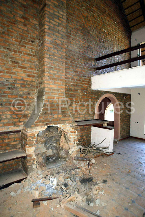 An Interior picture of the fireplace at Maryvale farmhouse which had been looted and destroyed by Zimbabweans trying to oust the local white farmers from Zimbabwe.