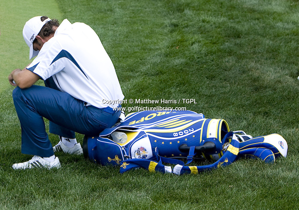 Down and out after defeat Sergio GARCIA (EUR) during Singles 2008 Ryder Cup Matches, Valhalla, Louisville, Kentucky, USA.