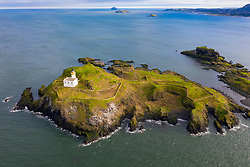 Aerial view of Fidra Island in the Firth of Forth, Scotland, UK