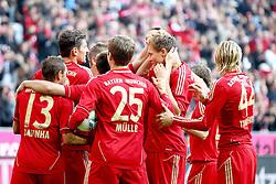 29.10.2011, Allianz Arena, Muenchen, GER, 1.FBL,  FC Bayern Muenchen vs 1. FC Nuernberg, im Bild  Jubel nach dem Tor zum 1-0 durch Mario Gomez (Bayern #33)  mit Rafinha (Bayern #13) Thomas Mueller (Bayern #25)  Holger Badstuber (Bayern #28) Anatoliy Tymoshchuk (Bayern #44) // during the match FC Bayern Muenchen vs 1. FC Nuernberg, on 2011/10/29, Allianz Arena, Munich, Germany, EXPA Pictures © 2011, PhotoCredit: EXPA/ nph/  Straubmeier       ****** out of GER / CRO  / BEL ******