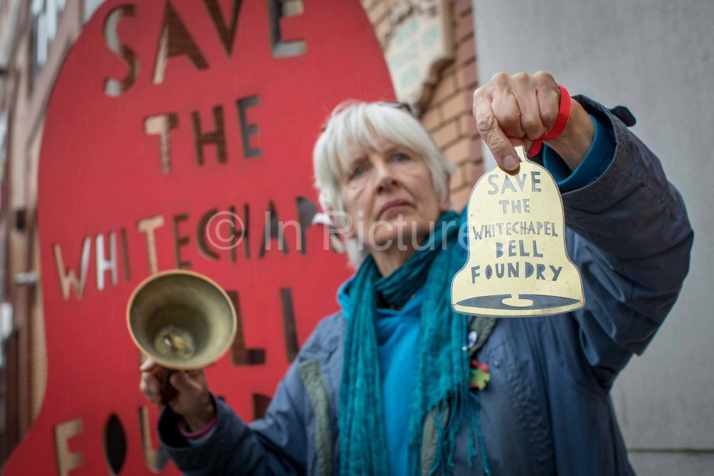 Jill Wilson from the East End Preservation Society campaigning against London Borough of Tower Hamlets planning decision to develop the Whitechapel Bell Foundry into a boutique hotel on the 9th November 2019 in East London in the United Kingdom. Whitechapel Bell Foundry closed in June 2017, having cast bells in the East End for almost 450 years. Campaigning with East End Preservation Society, directly petitioning Tower Hamlets Council to preserve the foundry on the grounds of its great historical importance. Operating in Whitechapel from the 1570s — and from its current location since the mid 1740s — the foundry produced world famous bells, including Big Ben, 1858, and the Liberty Bell. Before it shut its doors, Whitechapel was one of two remaining bell foundries in the UK. The site is now owned by property developer, Raycliff, which wants to turn the site into a boutique Hotel.
