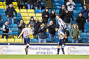 Millwall forward Lee Gregory (9), Millwall midfielder Shane Ferguson (18), goal celebrate during the EFL Sky Bet League 1 match between Millwall and Peterborough United at The Den, London, England on 28 February 2017. Photo by Sebastian Frej.