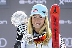 March 16, 2019 - Andorra La Vella, Andorra - Mikaela Shiffrin of USA Ski Team, win the Crystal Globe of  Ladie's Giant Slalom Audi FIS Ski World Cup, on March 16, 2019 in El Tarter, Andorra. (Credit Image: © Joan Cros/NurPhoto via ZUMA Press)