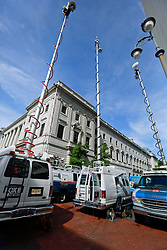 09 July 2014. New Orleans, Louisiana. <br /> TV trucks outside Federal Court at the trial of  Ray Nagin. Former mayor of New Orleans is sentenced to serve 10 years in prison for bribery and money laundering. <br /> Photo; Charlie Varley/varleypix.com