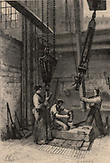 Searching for coal by boring, Pas de Calais Coalfield, France. Changing the rods on a boring machine  powered by a steam engine. From  'Underground Life; or, Mines and Miners' by Louis Simonin (London, 1869). Wood engraving.