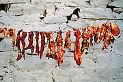 In the remote mountain village of Shingkhey, Bhutan, meat is preserved by drying it in the sun. Hungry Planet: What the World Eats (p. 40). This image is featured alongside the Namgay family images in Hungry Planet: What the World Eats.
