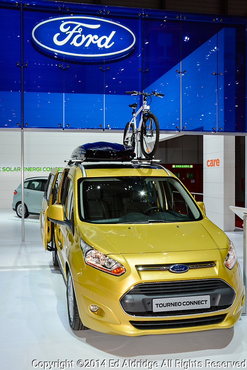 GENEVA, SWITZERLAND - MARCH 4, 2014: Ford Tourneo Connect on display during the Geneva Motor Show.