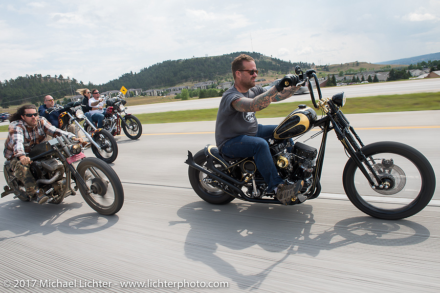 Brad Gregory and Bobby Seeger on Aidan's Ride to raise money for the Aiden Jack Seeger nonprofit foundation to help raise awareness and find a cure for ALD (Adrenoleukodystrophy) during the annual Sturgis Black Hills Motorcycle Rally. I-90 between Rapid City and Sturgis, SD, USA. Tuesday August 8, 2017. Photography ©2017 Michael Lichter.