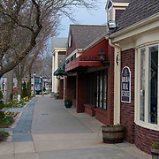 Main street of Falmouth, Cape Cod, in April off season with closed restaurants and shops