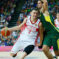 08 August 2012: Russia Vitaliy Fridzon attacks the basket during 83-74 Team Russia victory over Team Lithuania, during the men's basketball quarter-finals, at the 02 Arena, in London, Great Britain.