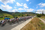 The peloton rides underneath the Millau bridge on their way to Carcassonne during the 105th Tour de France 2018, Stage 15, Millau - Carcassonne (181,5 km) on July 22th, 2018 - Photo George Deswijzen / Pro Shots / ProSportsImages / DPPI