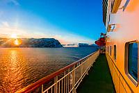Hurtigruten ship MS Nordlys nearing Tromso, Arctic, Northern Norway.