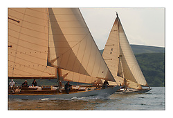 Solway Maid sails to lee of Mikado with a similarly designed cutter rig in the West Kyle at the start of the final race...This the largest gathering of classic yachts designed by William Fife returned to their birth place on the Clyde to participate in the 2nd Fife Regatta. 22 Yachts from around the world participated in the event which honoured the skills of Yacht Designer Wm Fife, and his yard in Fairlie, Scotland...FAO Picture Desk..Marc Turner / PFM Pictures