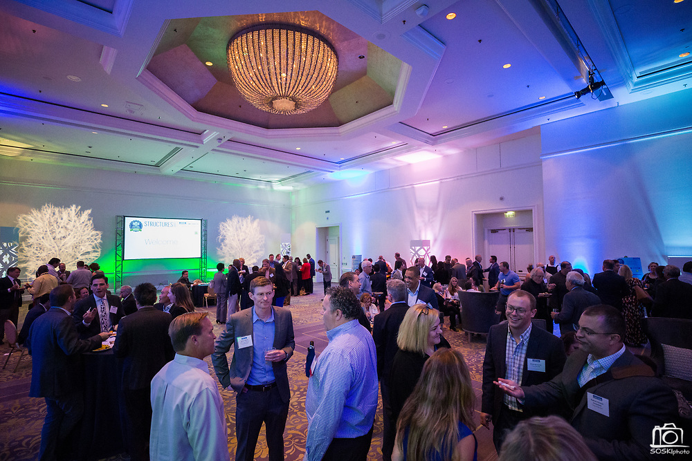 Attendees socialize during the Silicon Valley Business Journal's Annual Silicon Valley Structures Awards event at the Fairmont San Jose in San Jose, California, on September 21, 2017. (Stan Olszewski for Silicon Valley Business Journal)
